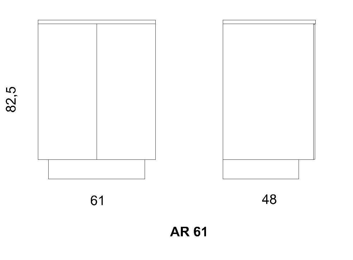 Antina AR/61 LACCATA a 2 sportelli con ripiano regolabile