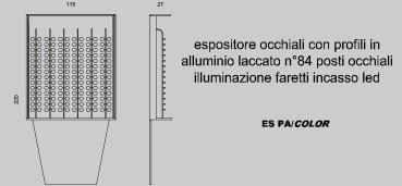 Espositore per occhiali con profili in alluminio laccato 84 posti per occhiali illuminazione faretti incasso led