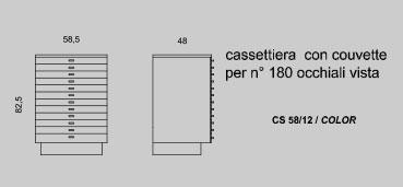 Cassettiera con couvette per 180 occhiali da vista