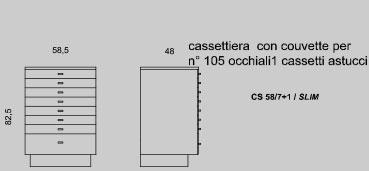 Cassettiera con couvette per 105 occhiali cassetti astucci
