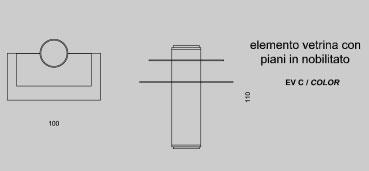 Elemento vetrina con piani in nobilitato