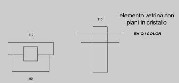 Elemento vetrina con piani in cristallo